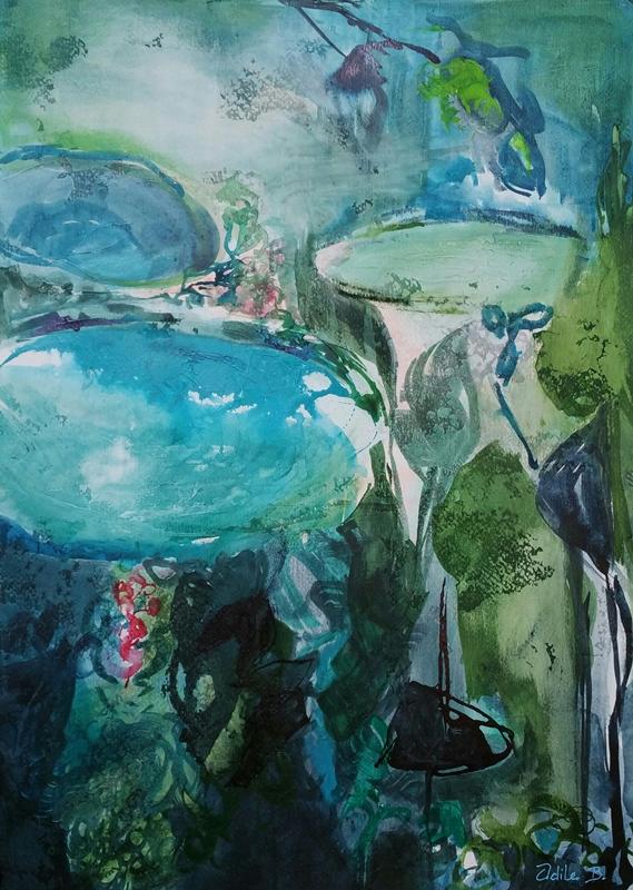 Peinture - Sous les lotus